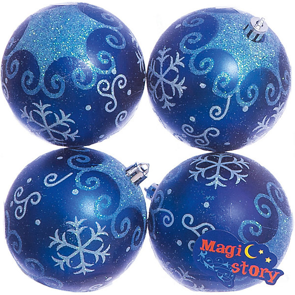 Набор шаров 4*8см Magic Story синийЁлочные игрушки<br>Характеристики:<br><br>• в наборе: 4 шт.;<br>• материал: пластик;<br>• диаметр: 8 см;<br>• вес упаковки: 92 гр.;<br>• размер упаковки: 16х8х16 см.<br><br>Шары из набора Magic Story выполнены из пластика, а значит не разобьются при случайном падении и останутся в коллекции елочных украшений на многие годы.<br><br>Шары имеют матовое покрытие, украшены очаровательными узорами с блестками. Краски украшений стойкие и насыщенные, не выцветают со временем. Шары можно подвесить с помощью специальных петелек.<br><br>Набор шаров 4х8 см Magic Story синий можно купить в нашем интернет-магазине.<br>Ширина мм: 160; Глубина мм: 80; Высота мм: 160; Вес г: 92; Возраст от месяцев: 36; Возраст до месяцев: 2147483647; Пол: Унисекс; Возраст: Детский; SKU: 7422370;