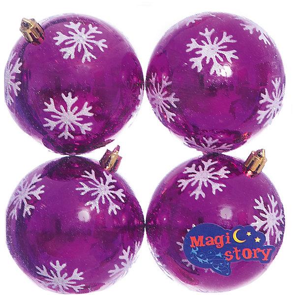 Набор шаров 4*8см Magic Story фиолетовыйЁлочные игрушки<br>Характеристики:<br><br>• в наборе: 4 шт.;<br>• материал: пластик;<br>• диаметр: 8 см;<br>• вес упаковки: 92 гр.;<br>• размер упаковки: 16х8х16 см.<br><br>Шары из набора Magic Story выполнены из пластика, а значит не разобьются при случайном падении и останутся в коллекции елочных украшений на многие годы.<br><br>Шары имеют глянцевое покрытие, украшены узорами снежинок. Краски украшений стойкие и насыщенные, не выцветают со временем. Шары можно подвесить с помощью специальных петелек.<br><br>Набор шаров 4х8 см Magic Story фиолетовый можно купить в нашем интернет-магазине.<br>Ширина мм: 160; Глубина мм: 80; Высота мм: 160; Вес г: 92; Возраст от месяцев: 36; Возраст до месяцев: 2147483647; Пол: Унисекс; Возраст: Детский; SKU: 7422374;