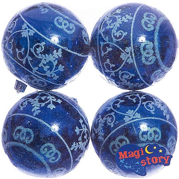 Набор пластиковых шаров 4*8см Magic StoryЁлочные игрушки<br>Характеристики:<br><br>• в наборе: 4 шт.;<br>• материал: пластик;<br>• цвет: синий;<br>• диаметр: 8 см;<br>• вес упаковки: 92 гр.;<br>• размер упаковки: 16х8х16 см.<br><br>Шары из набора Magic Story выполнены из пластика, а значит не разобьются при случайном падении и останутся в коллекции елочных украшений на многие годы.<br><br>Шары имеют глянцевое покрытие, украшены витиеватыми узорами. Краски украшений стойкие и насыщенные, не выцветают со временем. Шары можно подвесить с помощью специальных петелек.<br><br>Набор пластиковых шаров 4х8 см Magic Story можно купить в нашем интернет-магазине.<br>Ширина мм: 160; Глубина мм: 80; Высота мм: 160; Вес г: 92; Возраст от месяцев: 36; Возраст до месяцев: 2147483647; Пол: Унисекс; Возраст: Детский; SKU: 7422376;