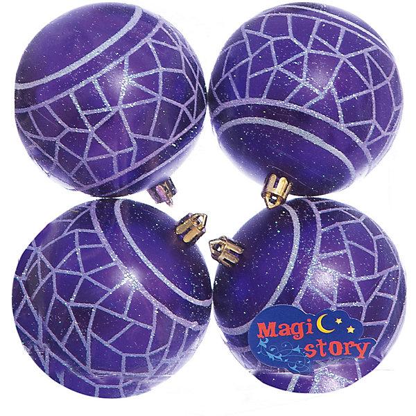 Набор шаров 4*8см Magic Story синийЁлочные игрушки<br>Характеристики:<br><br>• в наборе: 4 шт.;<br>• материал: пластик;<br>• диаметр: 8 см;<br>• вес упаковки: 92 гр.;<br>• размер упаковки: 16х8х16 см.<br><br>Шары из набора Magic Story выполнены из пластика, а значит не разобьются при случайном падении и останутся в коллекции елочных украшений на многие годы.<br><br>Шары имеют матовое покрытие, украшены узорами с блестками. Краски украшений стойкие и насыщенные, не выцветают со временем. Шары можно подвесить с помощью специальных петелек.<br><br>Набор шаров 4х8 см Magic Story синий можно купить в нашем интернет-магазине.<br>Ширина мм: 160; Глубина мм: 80; Высота мм: 160; Вес г: 92; Возраст от месяцев: 36; Возраст до месяцев: 2147483647; Пол: Унисекс; Возраст: Детский; SKU: 7422384;