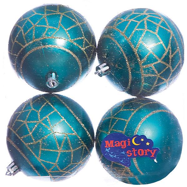 Набор шаров 4*8см Magic Story бирюзаЁлочные игрушки<br>Характеристики:<br><br>• в наборе: 4 шт.;<br>• материал: пластик;<br>• диаметр: 8 см;<br>• вес упаковки: 92 гр.;<br>• размер упаковки: 16х8х16 см.<br><br>Шары из набора Magic Story выполнены из пластика, а значит не разобьются при случайном падении и останутся в коллекции елочных украшений на многие годы.<br><br>Шары имеют матовое покрытие, украшены узорами с блестками. Краски украшений стойкие и насыщенные, не выцветают со временем. Шары можно подвесить с помощью специальных петелек.<br><br>Набор шаров 4х8 см Magic Story бирюза можно купить в нашем интернет-магазине.<br>Ширина мм: 160; Глубина мм: 80; Высота мм: 160; Вес г: 92; Возраст от месяцев: 36; Возраст до месяцев: 2147483647; Пол: Унисекс; Возраст: Детский; SKU: 7422385;