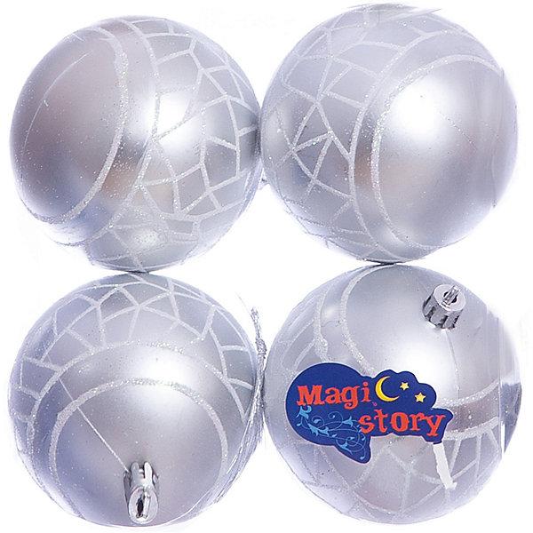 Набор шаров 4*8см Magic Story сереброЁлочные игрушки<br>Характеристики:<br><br>• в наборе: 4 шт.;<br>• материал: пластик;<br>• диаметр: 8 см;<br>• вес упаковки: 92 гр.;<br>• размер упаковки: 16х8х16 см.<br><br>Шары из набора Magic Story выполнены из пластика, а значит не разобьются при случайном падении и останутся в коллекции елочных украшений на многие годы.<br><br>Шары имеют матовое покрытие, украшены узорами с блестками. Краски украшений стойкие и насыщенные, не выцветают со временем. Шары можно подвесить с помощью специальных петелек.<br><br>Набор шаров 4х8 см Magic Story серебро можно купить в нашем интернет-магазине.<br>Ширина мм: 160; Глубина мм: 80; Высота мм: 160; Вес г: 92; Возраст от месяцев: 36; Возраст до месяцев: 2147483647; Пол: Унисекс; Возраст: Детский; SKU: 7422387;