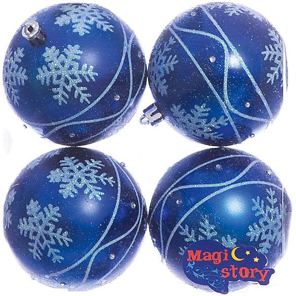 Набор шаров 4*8см Magic Story синийЁлочные игрушки<br>Характеристики:<br><br>• в наборе: 4 шт.;<br>• материал: пластик;<br>• диаметр: 8 см;<br>• вес упаковки: 92 гр.;<br>• размер упаковки: 16х8х16 см.<br><br>Шары из набора Magic Story выполнены из пластика, а значит не разобьются при случайном падении и останутся в коллекции елочных украшений на многие годы.<br><br>Шары имеют матовое покрытие, украшены узорами снежинок с блестками. Краски украшений стойкие и насыщенные, не выцветают со временем. Шары можно подвесить с помощью специальных петелек.<br><br>Набор шаров 4х8 см Magic Story синий можно купить в нашем интернет-магазине.<br>Ширина мм: 160; Глубина мм: 80; Высота мм: 160; Вес г: 92; Возраст от месяцев: 36; Возраст до месяцев: 2147483647; Пол: Унисекс; Возраст: Детский; SKU: 7422389;