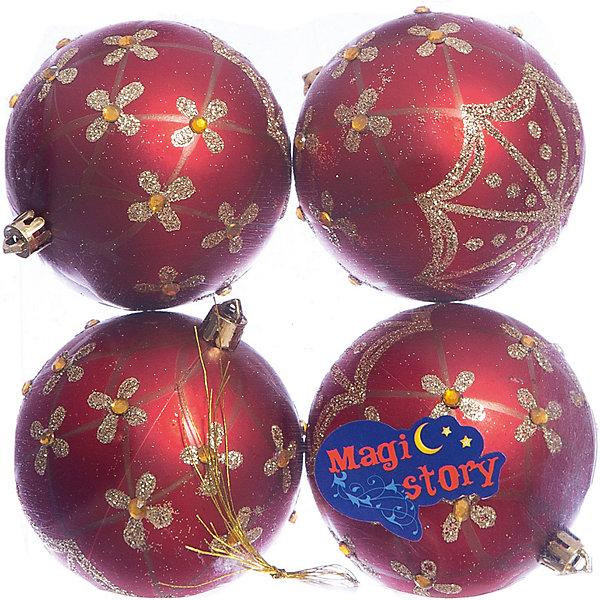 Набор шаров 4*8см Magic Story красныйЁлочные игрушки<br>Характеристики:<br><br>• в наборе: 4 шт.;<br>• материал: пластик;<br>• диаметр: 8 см;<br>• вес упаковки: 92 гр.;<br>• размер упаковки: 16х8х16 см.<br><br>Шары из набора Magic Story выполнены из пластика, а значит не разобьются при случайном падении и останутся в коллекции елочных украшений на многие годы.<br><br>Шары имеют матовое покрытие, украшены блестящими узорами и кристаллами. Краски украшений стойкие и насыщенные, не выцветают со временем. Шары можно подвесить с помощью специальных петелек.<br><br>Набор шаров 4х8 см Magic Story красный можно купить в нашем интернет-магазине.<br>Ширина мм: 160; Глубина мм: 80; Высота мм: 160; Вес г: 92; Возраст от месяцев: 36; Возраст до месяцев: 2147483647; Пол: Унисекс; Возраст: Детский; SKU: 7422394;