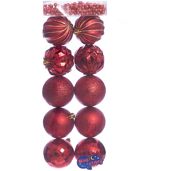 Набор шаров 10*6см + бусы 2м*8мм Magic Story красныйЁлочные игрушки<br>Характеристики:<br><br>• в наборе: 10 шаров, бусы 2 м;<br>• материал: пластик;<br>• диаметр: 6 см;<br>• вес упаковки: 92 гр.;<br>• размер упаковки: 12х6х36 см.<br><br>Набор шаров Magic Story включает в себя 5 пар украшений с разным дизайном: матовые, покрытые глиттером, рельефные, рельефные с золотыми узорами и диско шары. Кроме того, в комплекте бусы в аналогичной цветовой гамме. Бусами можно украсить как елку, так и праздничный стол.<br><br>Елочные игрушки выполнены из пластика, а значит не разобьются при случайном падении. Краски украшений стойкие и насыщенные, не выцветают со временем. Шары можно подвесить с помощью специальных петелек.<br><br>Набор шаров 10*6 см + бусы 2м*8 мм Magic Story красный можно купить в нашем интернет-магазине.<br><br>Ширина мм: 120<br>Глубина мм: 60<br>Высота мм: 360<br>Вес г: 92<br>Возраст от месяцев: 36<br>Возраст до месяцев: 2147483647<br>Пол: Унисекс<br>Возраст: Детский<br>SKU: 7422396