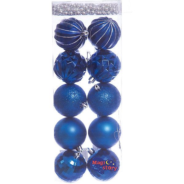 Набор шаров 10*6см + бусы 2м*8мм Magic Story синийЁлочные игрушки<br>Характеристики:<br><br>• в наборе: 10 шаров, бусы 2 м;<br>• материал: пластик;<br>• диаметр: 6 см;<br>• вес упаковки: 92 гр.;<br>• размер упаковки: 12х6х36 см.<br><br>Набор шаров Magic Story включает в себя 5 пар украшений с разным дизайном: матовые, покрытые глиттером, рельефные, рельефные с блестящими узорами и диско шары. Кроме того, в комплекте бусы в аналогичной цветовой гамме. Бусами можно украсить как елку, так и праздничный стол.<br><br>Елочные игрушки выполнены из пластика, а значит не разобьются при случайном падении. Краски украшений стойкие и насыщенные, не выцветают со временем. Шары можно подвесить с помощью специальных петелек.<br><br>Набор шаров 10*6 см + бусы 2м*8 мм Magic Story синий можно купить в нашем интернет-магазине.<br>Ширина мм: 120; Глубина мм: 60; Высота мм: 360; Вес г: 92; Возраст от месяцев: 36; Возраст до месяцев: 2147483647; Пол: Унисекс; Возраст: Детский; SKU: 7422400;