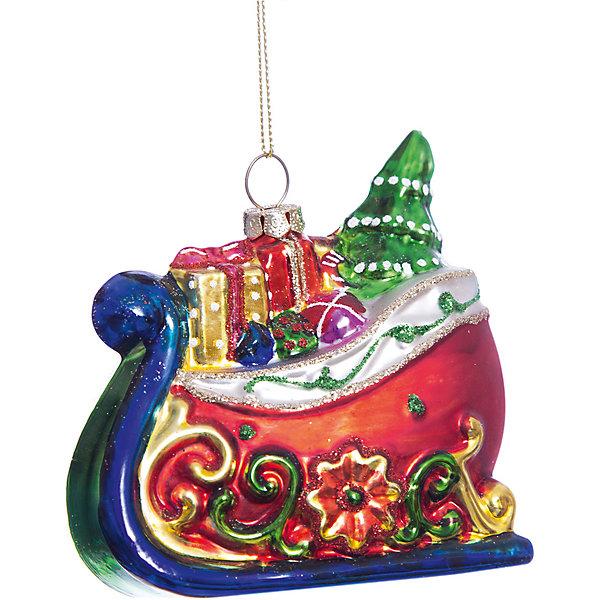 Елочное украшение сани с подарками Magic StoryЁлочные игрушки<br>Характеристики:<br><br>• в наборе: 1 шт.;<br>• материал: стекло;<br>• вес упаковки: 98 гр.;<br>• размер упаковки: 12,5х8х18 см.<br><br>Красочное украшение «Сани с подарками» Magic Story традиционно выполнено из стекла. Поверхность покрыта насыщенными яркими красками, которые не выцветают со временем. Каждая часть декора тщательно проработана и детализирована. Подвесить игрушку можно с помощью специальной петельки.<br><br>Елочное украшение «Сани с подарками» Magic Story можно купить в нашем интернет-магазине.<br>Ширина мм: 125; Глубина мм: 80; Высота мм: 180; Вес г: 98; Возраст от месяцев: 36; Возраст до месяцев: 2147483647; Пол: Унисекс; Возраст: Детский; SKU: 7422411;