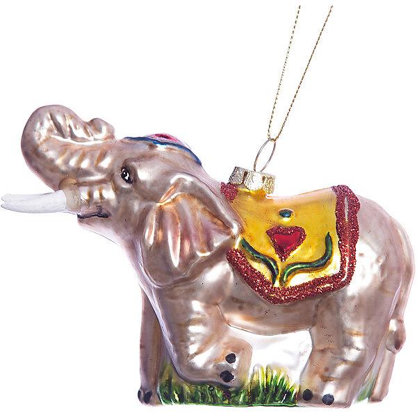 Елочное украшение цирковой слон Magic StoryЁлочные игрушки<br>Характеристики:<br><br>• в наборе: 1 шт.;<br>• материал: стекло;<br>• вес упаковки: 96 гр.;<br>• размер упаковки: 17,5х8х13,5 см.<br><br>Красочное украшение «Цирковой слон» Magic Story традиционно выполнено из стекла. Поверхность покрыта насыщенными яркими красками, которые не выцветают со временем. Каждая часть декора тщательно проработана и детализирована. Подвесить игрушку можно с помощью специальной петельки.<br><br>Елочное украшение «Цирковой слон» Magic Story можно купить в нашем интернет-магазине.<br><br>Ширина мм: 175<br>Глубина мм: 80<br>Высота мм: 135<br>Вес г: 96<br>Возраст от месяцев: 36<br>Возраст до месяцев: 2147483647<br>Пол: Унисекс<br>Возраст: Детский<br>SKU: 7422414