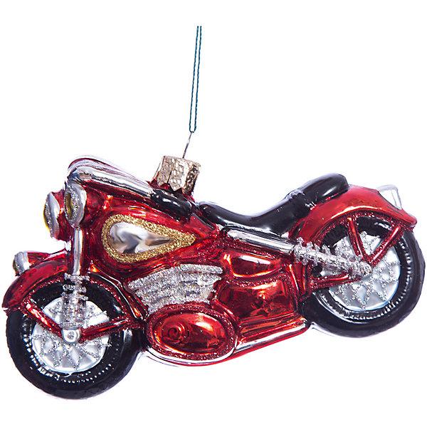 Елочное украшение мотоцикл Magic StoryЁлочные игрушки<br>Характеристики:<br><br>• в наборе: 1 шт.;<br>• материал: стекло;<br>• вес упаковки: 92 гр.;<br>• размер упаковки: 17,5х8х13,5 см.<br><br>Красочное украшение «Мотоцикл» Magic Story традиционно выполнено из стекла. Поверхность покрыта насыщенными яркими красками, которые не выцветают со временем. Каждая часть декора тщательно проработана и детализирована. Подвесить игрушку можно с помощью специальной петельки.<br><br>Елочное украшение «Мотоцикл» Magic Story можно купить в нашем интернет-магазине.<br><br>Ширина мм: 175<br>Глубина мм: 80<br>Высота мм: 135<br>Вес г: 92<br>Возраст от месяцев: 36<br>Возраст до месяцев: 2147483647<br>Пол: Унисекс<br>Возраст: Детский<br>SKU: 7422415