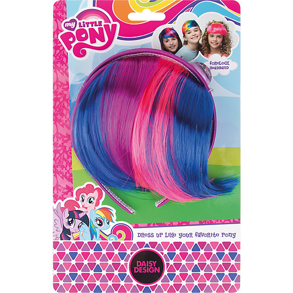 Ободок-челка My Little Pony Сумеречная ИскоркаДетские шляпы и колпаки<br>Характеристики товара:<br><br>• возраст: от 3 лет;<br>• упаковка: картонная подложка;<br>• размер упаковки: 16х7х3 см.;<br>• комплект: прядь волос, ободок;<br>• цвет: синий, розовый;<br>• материал: пластик, текстиль;<br>• бренд, страна-обладатель бренда: Daisy Design, Россия;<br>• страна-производитель: Китай.<br><br>Ободок-челка «My Little Pony. Сумеречная искорка» от компании Daisy Design прекрасно подойдет для маленькой красавицы. <br><br>Искусственные локоны, которые прикреплены к основе, имеют два основных цвета: темно-синий и насыщенный розовый. Такое цветовое сочетание напоминает масть одного из любимых героев My Little Pony - Сумеречной искорки. <br><br>Ободок станет оригинальным способом украсить прическу маленькой модницы.Изготовлен из безопасных для здоровья ребенка материалов, прошедших соответствие европейским стандартам качества. <br><br>Ободок-челку «My Little Pony. Сумеречная искорка», Daisy Design  можно купить в нашем интернет-магазине.<br>Ширина мм: 160; Глубина мм: 70; Высота мм: 30; Вес г: 70; Возраст от месяцев: 36; Возраст до месяцев: 2147483647; Пол: Женский; Возраст: Детский; SKU: 7423331;