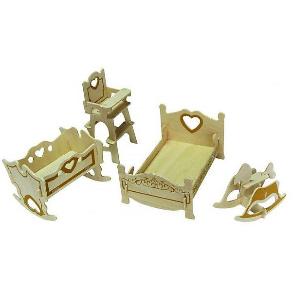 Модель сборная Мебель для кукол СПАЛЬНЯ Чудо-ДеревоДеревянные модели<br>Характеристики товара:  <br><br>• возраст: от 5 лет;<br>• материал: дерево;<br>• в комплекте: 25 деталей для сборки, инструкция;<br>• размер упаковки: 37х24х1 см;<br>• вес упаковки: 400 гр.;<br>• страна производитель: Китай.<br><br>Модель сборная «Спальня» Чудо-Дерево позволит собрать настоящий набор мебели для кукол. Перед началом сборки все детали нужно выдавить из фанерного листа. Все они соединяются между собой без клея, но для надежности их можно склеить клеем ПВА. Готовые предметы можно раскрасить по желанию. Все детали выполнены из натуральной качественной древесины.<br><br>Модель сборную «Спальня» Чудо-Дерево можно приобрести в нашем интернет-магазине.<br>Ширина мм: 370; Глубина мм: 240; Высота мм: 10; Вес г: 400; Возраст от месяцев: 60; Возраст до месяцев: 156; Пол: Женский; Возраст: Детский; SKU: 7424859;