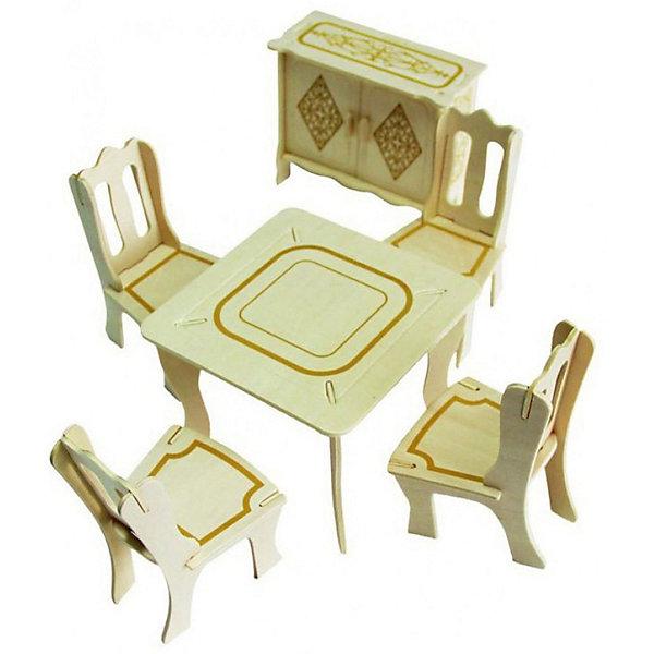 Модель сборная Мебель для кукол ГОСТИНАЯ Чудо-ДеревоДеревянные модели<br>Характеристики товара:  <br><br>• возраст: от 5 лет;<br>• материал: дерево;<br>• в комплекте: 29 деталей для сборки, инструкция;<br>• размер упаковки: 37х24х1 см;<br>• вес упаковки: 400 гр.;<br>• страна производитель: Китай.<br><br>Модель сборная «Гостиная» Чудо-Дерево позволит собрать настоящий набор мебели для кукол. Перед началом сборки все детали нужно выдавить из фанерного листа. Все они соединяются между собой без клея, но для надежности их можно склеить клеем ПВА. Готовые предметы можно раскрасить по желанию. Все детали выполнены из натуральной качественной древесины.<br><br>Модель сборную «Гостиная» Чудо-Дерево можно приобрести в нашем интернет-магазине.<br>Ширина мм: 370; Глубина мм: 240; Высота мм: 10; Вес г: 400; Возраст от месяцев: 60; Возраст до месяцев: 156; Пол: Женский; Возраст: Детский; SKU: 7424861;