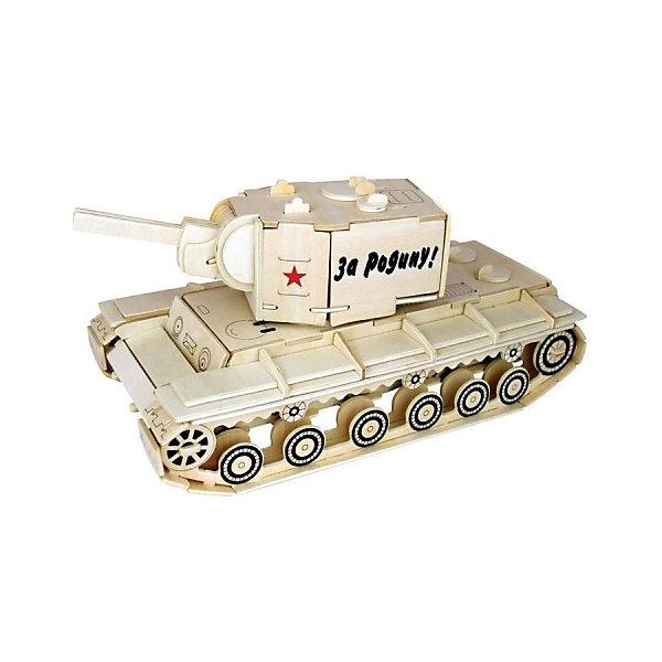 Модель сборная Танк КВ-2 Чудо-ДеревоДеревянные модели<br>Характеристики товара:  <br><br>• возраст: от 5 лет;<br>• материал: дерево;<br>• в комплекте: 86 деталей для сборки, инструкция;<br>• размер готовой модели: 26,8х12,5х12,5 см;<br>• размер упаковки: 23х37х1,2 см;<br>• вес упаковки: 560 гр.;<br>• страна производитель: Китай.<br><br>Модель сборная «Танк КВ-2» Чудо-Дерево позволит собрать модель танка. Перед началом сборки все детали нужно выдавить из фанерного листа. Все они соединяются между собой без клея, но для надежности их можно склеить клеем ПВА. Готовую модель можно раскрасить по желанию. Все детали выполнены из натуральной качественной древесины.<br><br>Модель сборную «Танк КВ-2» Чудо-Дерево можно приобрести в нашем интернет-магазине.<br>Ширина мм: 370; Глубина мм: 12; Высота мм: 230; Вес г: 560; Возраст от месяцев: 60; Возраст до месяцев: 156; Пол: Мужской; Возраст: Детский; SKU: 7424863;