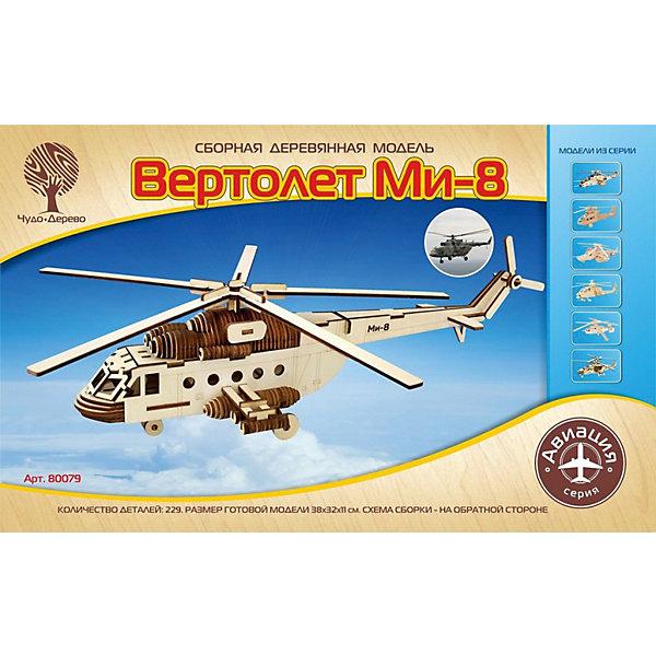 Модель сборная Вертолет Ми-35М Чудо-ДеревоДеревянные модели<br>Характеристики товара:  <br><br>• возраст: от 5 лет;<br>• материал: дерево;<br>• в комплекте: 125 деталей для сборки, инструкция;<br>• размер готовой модели: 35х32х10,5 см;<br>• размер упаковки: 40х25х1 см;<br>• вес упаковки: 280 гр.;<br>• страна производитель:Китай.<br><br>Модель сборная «Вертолет Ми-35М» Чудо-Дерево позволит собрать модель вертолета. Перед началом сборки все детали нужно выдавить из фанерного листа. Все они соединяются между собой без клея, но для надежности их можно склеить клеем ПВА. Готовую модель можно раскрасить по желанию. Все детали выполнены из натуральной качественной древесины.<br><br>Модель сборную «Вертолет Ми-35М» Чудо-Дерево можно приобрести в нашем интернет-магазине.<br>Ширина мм: 400; Глубина мм: 250; Высота мм: 10; Вес г: 280; Возраст от месяцев: 60; Возраст до месяцев: 180; Пол: Мужской; Возраст: Детский; SKU: 7424873;