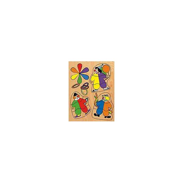 Рамка-пазл Клоуны  Чудо-ДеревоРамки-вкладыши<br>Характеристики товара:<br><br>• возраст: от 3 лет;<br>• материал: дерево;<br>• в комплекте: рамка, вкладыши;<br>• размер упаковки: 29х21,5х1 см;<br>• вес упаковки: 280 гр.;<br>• страна производитель: Китай.<br><br>Рамка-пазл «Клоуны» Чудо-дерево представляет собой рамку с вырезанными на ней отверстиями для вкладышей. Чтобы собрать картинку, ребенок должен для каждого отверстия подобрать подходящий по форме вкладыш. Игрушка способствует развитию логического мышления, мелкой моторики рук, зрительного восприятия. Выполнена из качественной натуральной древесины.<br><br>Рамку-пазл «Клоуны» Чудо-дерево можно приобрести в нашем интернет-магазине.<br>Ширина мм: 290; Глубина мм: 215; Высота мм: 10; Вес г: 280; Возраст от месяцев: 36; Возраст до месяцев: 60; Пол: Унисекс; Возраст: Детский; SKU: 7424874;