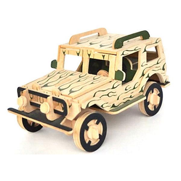 Модель сборная Внедорожник Чудо-ДеревоДеревянные модели<br>Характеристики товара:  <br><br>• возраст: от 5 лет;<br>• материал: дерево;<br>• в комплекте: детали для сборки, инструкция;<br>• размер готовой модели: 13х8х7,5 см;<br>• размер упаковки: 37х18,5х1 см;<br>• вес упаковки: 140 гр.;<br>• страна производитель: Китай.<br><br>Модель сборная «Внедорожник» Чудо-Дерево позволит собрать модель внедорожника. Перед началом сборки все детали нужно выдавить из фанерного листа. Все они соединяются между собой без клея, но для надежности их можно склеить клеем ПВА. Готовую модель можно раскрасить по желанию. Все детали выполнены из натуральной качественной древесины.<br><br>Модель сборную «Внедорожник» Чудо-Дерево можно приобрести в нашем интернет-магазине.<br>Ширина мм: 370; Глубина мм: 185; Высота мм: 10; Вес г: 140; Возраст от месяцев: 60; Возраст до месяцев: 180; Пол: Мужской; Возраст: Детский; SKU: 7424933;