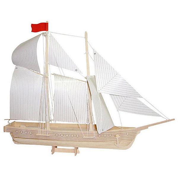 Модель сборная Шхуна Чудо-ДеревоДеревянные модели<br>Характеристики товара:  <br><br>• возраст: от 5 лет;<br>• материал: дерево;<br>• в комплекте: 46 деталей для сборки, инструкция;<br>• размер готовой модели: 37х16х48 см;<br>• размер упаковки: 37х18,5х1,2 см;<br>• вес упаковки: 570 гр.;<br>• страна производитель: Китай.<br><br>Модель сборная «Шхуна» Чудо-Дерево позволит собрать модель корабля. Перед началом сборки все детали нужно выдавить из фанерного листа. Все они соединяются между собой без клея, но для надежности их можно склеить клеем ПВА. Готовую модель можно раскрасить по желанию. Все детали выполнены из натуральной качественной древесины.<br><br>Модель сборную «Шхуна» Чудо-Дерево можно приобрести в нашем интернет-магазине.<br>Ширина мм: 370; Глубина мм: 185; Высота мм: 12; Вес г: 570; Возраст от месяцев: 60; Возраст до месяцев: 180; Пол: Мужской; Возраст: Детский; SKU: 7424938;
