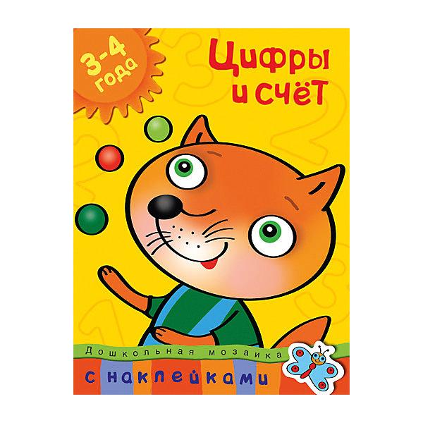Цифры и счет (3-4 года)Пособия для обучения счёту<br>Характеристики:<br><br>• ISBN: 978-5-389-00456-6;<br>• тип игрушки: книга;<br>• возраст: от 3 лет;<br>• вес: 100 гр;<br>• автор: Земцова О.Н.;<br>• художник: Корчемкина Т.;<br>• количество страниц: 32 (офсет);<br>• размер: 28,5х21,5х0,3 см;<br>• материал: бумага;<br>• издательство: Махаон.<br><br>Книга Махаон «Цифры и счет (3-4 года)» - это настоящая находка для детей дошкольного возраста. С ней ваш малыш сможет развить свои математические способности.<br>Ребёнок научится различать геометрические фигуры, считать до пяти, определять количество предметов, узнавать и правильно записывать цифры. <br><br>Маленький ученик проверит свои знания, решая математически задачки. Наклеивание картинок сделает процесс обучения не только увлекательным занятием, но и разовьёт мелкую моторику и координацию движений руки. Возможно, малышу потребуется ваша помощь. Найдите вместе с ребёнком нужную наклейку и помогите ему приклеить её на страничку.<br><br>Книгу «Цифры и счет (3-4 года)» от издательства Махаон можно купить в нашем интернет-магазине.<br>Ширина мм: 285; Глубина мм: 215; Высота мм: 2; Вес г: 115; Возраст от месяцев: 36; Возраст до месяцев: 72; Пол: Унисекс; Возраст: Детский; SKU: 7427574;