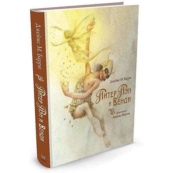 Питер Пэн и ВендиРассказы и повести<br>Характеристики:<br><br>• ISBN: 978-5-389-00870-0;<br>• тип игрушки: книга;<br>• возраст: от 7 лет;<br>• вес: 646 гр;<br>• автор: Барри Джеймс Мэтью;<br>• художник: Роберт Ингпен;<br>• количество страниц: 208 (офсет);<br>• размер: 24,5х20,2х1,8 см;<br>• материал: бумага;<br>• издательство: Махаон.<br><br>Книга «Питер Пэн и Венди» от издательства Махаон входит в серию «Книги с иллюстрациями Роберта Ингпена» и станет отличным дополнением в книжной коллекции детей от семи лет.<br>А этой книге вы найдете удивительную историю о сказочном мальчике, который не хотел взрослеть. Она давно поразила воображение детей и взрослых и началась с того, что однажды Питер Пэн влетел в окно детской в доме, где жили девочка Венди и двое её братьев. Вместе с Питером они отправились на далёкий волшебный остров. Там и начались их многочисленные приключения. А удивительные иллюстрации сделают эту историю еще более реальной и красочной.<br>Книга напечатана на качественной бумаге. Иллюстрации очень яркие и красочные. А шрифт всегда разборчивый и четкий, чтобы и у маленьких, и у взрослых читателей не возникало проблем со зрением.<br>Книгу «Питер Пэн и Венди» от издательства Махаон можно купить в нашем интернет-магазине.<br>Ширина мм: 242; Глубина мм: 201; Высота мм: 19; Вес г: 648; Возраст от месяцев: 84; Возраст до месяцев: 120; Пол: Унисекс; Возраст: Детский; SKU: 7427628;