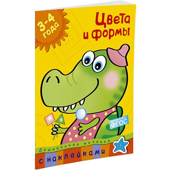 Цвета и формы (3-4 года)Изучаем цвета и формы<br>Характеристики:<br><br>• ISBN: 978-5-389-00535-8;<br>• тип игрушки: книга;<br>• возраст: от 3 лет;<br>• вес: 120 гр;<br>• автор: Земцова Ольга Николаевна;<br>• художник: Жиренкина Е.;<br>• количество страниц: 32 (офсет);<br>• размер: 28,5х21,5х0,4 см;<br>• материал: бумага;<br>• издательство: Махаон.<br><br>Книга «Цвета и формы. Для детей 3-4 лет» от издательства Махаон входит в серию «Дошкольная мозаика» и станет отличным дополнением в книжной коллекции детей от трех лет.<br>Эта книга познакомит ребенка с различными свойствами предметов. Он научится различать и правильно называть цвета и геометрические фигуры, сможет развить комбинаторное мышление, а также зрительное восприятие и внимание. В этой книге специально подобраны задания, которые вызовут интерес к творчеству и помогут в формировании художественного вкуса. Наклеивание картинок сделает процесс обучения не только увлекательным занятием, но и разовьёт мелкую моторику и координацию движений руки. Возможно, ребёнку потребуется ваша помощь. Найдите вместе с ним нужную наклейку и помогите ему приклеить её на страничку. Не забудьте похвалить малыша по окончании занятий.<br>Книга напечатана на качественной бумаге. Иллюстрации очень яркие и красочные. А шрифт всегда разборчивый и четкий, чтобы и у маленьких, и у взрослых читателей не возникало проблем со зрением.<br>Книгу «Цвета и формы. Для детей 3-4 лет» от издательства Махаон можно купить в нашем интернет-магазине.<br>Ширина мм: 285; Глубина мм: 216; Высота мм: 2; Вес г: 125; Возраст от месяцев: 36; Возраст до месяцев: 72; Пол: Унисекс; Возраст: Детский; SKU: 7427664;