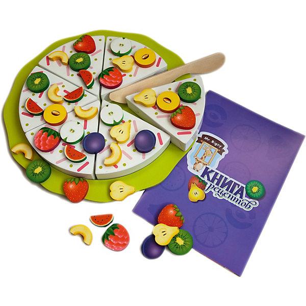 Mr. Bigzy Ягодный пирогОбучающие игры для дошкольников<br>Характеристики:<br><br>• возраст: от 3 лет;<br>• материал: дерево;<br>• в наборе: тарелка, нож, 6 кусков пирога на липучках, 66 элементов для украшения на магнитах, книга рецептов;<br>• вес: 1,4 кг.;<br>• размер упаковки: 29,5х27,5х4 см;<br>• страна производитель: Россия.<br><br>«Ягодный пирог» Mr. Bigzy — кулинарное открытие для ребенка. С помощью книги рецептов или своей богатой фантазии малыш сможет приготовить фантастически вкусный пирог с самыми разными фруктами и ягодами. В книжке даются разные задания на развитие внимательности и логического мышления.<br><br>В наборе есть все необходимое для имитации настоящего процесса приготовления и подачи блюда. Детали выполнены из дерева, совершенно безопасны для здоровья.<br><br>Mr. Bigzy «Ягодный пирог» можно купить в нашем интернет-магазине.<br>Ширина мм: 295; Глубина мм: 275; Высота мм: 40; Вес г: 1400; Возраст от месяцев: 24; Возраст до месяцев: 2147483647; Пол: Унисекс; Возраст: Детский; SKU: 7428416;