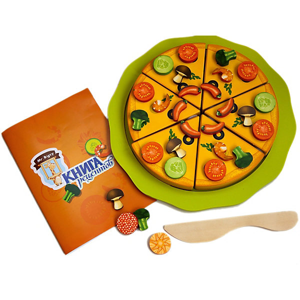 Mr. Bigzy Пицца МастерицаОбучающие игры для дошкольников<br>Характеристики:<br><br>• возраст: от 3 лет;<br>• материал: дерево;<br>• в наборе: тарелка, нож, 6 кусков пиццы на липучках, 66 элементов для украшения на магнитах, книга рецептов;<br>• вес: 1,4 кг.;<br>• размер упаковки: 29,5х27,5х4 см;<br>• страна производитель: Россия.<br><br>«Пицца Мастерица» Mr. Bigzy — кулинарное открытие для ребенка. С помощью книги рецептов или своей богатой фантазии малыш сможет приготовить фантастически вкусную пиццу с самыми разными ингредиентами. В книжке даются разные задания на развитие внимательности и логического мышления.<br><br>В наборе есть все необходимое для имитации настоящего процесса приготовления и подачи блюда. Детали выполнены из дерева, совершенно безопасны для здоровья.<br><br>Mr. Bigzy «Пицца Мастерица» можно купить в нашем интернет-магазине.<br><br>Ширина мм: 295<br>Глубина мм: 275<br>Высота мм: 40<br>Вес г: 1400<br>Возраст от месяцев: 24<br>Возраст до месяцев: 2147483647<br>Пол: Унисекс<br>Возраст: Детский<br>SKU: 7428417