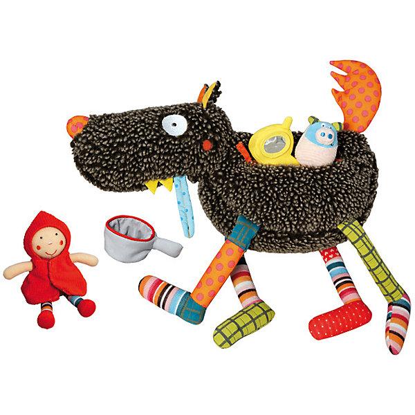 Развивающая игрушка Волк-обжора, 37 см EbuloboМягкие игрушки животные<br>Характеристики:<br><br>• возраст: от 0 лет;<br>• материал: полиэстер, хлопок;<br>• в наборе: волк, 5 небольших игрушек;<br>• вес: 580 гр.;<br>• размер упаковки: 75х51х37 см;<br>• страна бренда: Франция.<br><br>«Волк-обжора» Ebulobo — создан не просто для игры, а для комплексного развития ребенка. В процессе игры малыш научится различать цвета и формы, определять предметы по тактильным ощущениям, распознавать звуки.<br><br>В голове волка есть колокольчик, в носу — пищалка, а хвост издает приятное шуршание, как только его трогаешь. На брюшке у игрушки имеется кармашек на молнии, там можно найти все, что хищник съел на обед: Красную Шапочку, свинку с пищалкой, цыпленка с колокольчиком, кастрюльку и даже сотовый телефон.<br><br>Игрушка выполнена из качественных материалов, все швы надежно прошиты, поэтому она будет оставаться любимицей ребенка не один год.<br><br>Развивающую игрушку «Волк-обжора», 37 см Ebulobo можно купить в нашем интернет-магазине.<br><br>Ширина мм: 750<br>Глубина мм: 510<br>Высота мм: 370<br>Вес г: 580<br>Возраст от месяцев: 0<br>Возраст до месяцев: 36<br>Пол: Унисекс<br>Возраст: Детский<br>SKU: 7428420