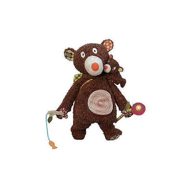 Развивающая игрушка Мишка и малыш 40 см EbuloboМягкие игрушки животные<br>Характеристики:<br><br>• возраст: от 3 месяцев;<br>• материал: полиэстер, хлопок;<br>• вес: 400 гр.;<br>• размер упаковки: 60х40х40 см;<br>• страна бренда: Франция.<br><br>Очаровательная игрушка «Мишка и малыш» Ebulobo развивает тактильные ощущения ребенка, звуковое и зрительное восприятие. Маленький медвежонок любит кататься на папе, зацепившись ему за шею или нос. В носу медведя есть пищалка, в лапках — шуршащий цветочек и удочка со звенящей рыбкой. <br><br>В кармашек на животе можно что-то положить или поместить медвежонка. Игрушка полна интересных сюрпризов! Она выполнена из качественных материалов, все швы надежно прошиты, поэтому «Мишка и малыш» будет оставаться любимцем ребенка не один год.<br><br>Развивающую игрушку «Мишка и малыш» 40 см Ebulobo можно купить в нашем интернет-магазине.<br>Ширина мм: 600; Глубина мм: 400; Высота мм: 400; Вес г: 400; Возраст от месяцев: 3; Возраст до месяцев: 36; Пол: Унисекс; Возраст: Детский; SKU: 7428427;