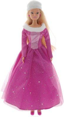 Кукла Штеффи в блестящем зимнем наряде, розовая, 29 см, Simba