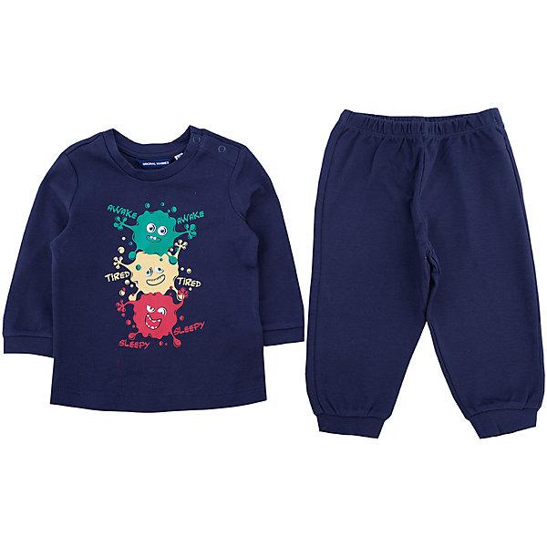Пижама Original Marines для мальчикаПижамы и сорочки<br>Характеристики товара:<br><br>• цвет: синий<br>• комплектация: лонгслив, брюки<br>• состав ткани: 100% хлопок<br>• сезон: круглый год<br>• застежка: кнопки<br>• пояс: резинка<br>• длинные рукава<br>• страна бренда: Италия<br>• страна изготовитель: Бангладеш<br><br>Хлопковая детская пижама легко надевается благодаря кнопкам на плече. Брюки от пижамы для ребенка не давят на живот - в них мягкая резинка. Такая детская пижама создает комфортные условия и удобно сидит по фигуре. Детские товары от бренда Original Marines давно завоевали любовь потребителей благодаря высокому качеству и стильному дизайну. <br><br>Пижаму Original Marines (Ориджинал Маринс) для мальчика можно купить в нашем интернет-магазине.<br>Ширина мм: 281; Глубина мм: 70; Высота мм: 188; Вес г: 295; Цвет: синий; Возраст от месяцев: 12; Возраст до месяцев: 18; Пол: Мужской; Возраст: Детский; Размер: 80/86,86/92,68/74; SKU: 7428805;