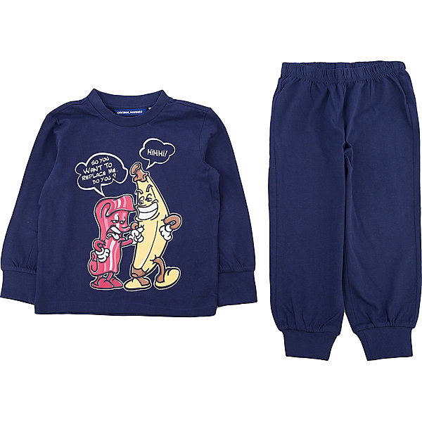 Пижама Original Marines для мальчикаПижамы и сорочки<br>Характеристики товара:<br><br>• цвет: синий<br>• комплектация: лонгслив, брюки<br>• состав ткани: 100% хлопок<br>• сезон: круглый год<br>• пояс: резинка<br>• длинные рукава<br>• страна бренда: Италия<br>• страна изготовитель: Бангладеш<br><br>Эта детская пижама обеспечит ребенку комфорт во время сна. Пижама для ребенка сделана из мягкого и дышащего хлопка. Детская пижама комфортно сидит, не вызывает неудобств. Итальянский бренд Original Marines - это стильный продуманный дизайн и неизменно высокое качество исполнения. <br><br>Пижаму Original Marines (Ориджинал Маринс) для мальчика можно купить в нашем интернет-магазине.<br>Ширина мм: 281; Глубина мм: 70; Высота мм: 188; Вес г: 295; Цвет: синий; Возраст от месяцев: 24; Возраст до месяцев: 36; Пол: Мужской; Возраст: Детский; Размер: 92/98,116/122,104/110; SKU: 7428813;