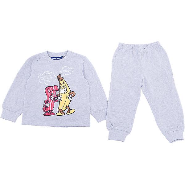 Пижама Original Marines для мальчикаПижамы и сорочки<br>Характеристики товара:<br><br>• цвет: серый<br>• комплектация: лонгслив, брюки<br>• состав ткани: 100% хлопок<br>• сезон: круглый год<br>• пояс: резинка<br>• длинные рукава<br>• страна бренда: Италия<br>• страна изготовитель: Бангладеш<br><br>Такая хлопковая детская пижама легко надевается. Брюки от пижамы для ребенка не давят на живот - в них мягкая резинка. Такая детская пижама создает комфортные условия и удобно сидит по фигуре. Детские товары от бренда Original Marines давно завоевали любовь потребителей благодаря высокому качеству и стильному дизайну. <br><br>Пижаму Original Marines (Ориджинал Маринс) для мальчика можно купить в нашем интернет-магазине.<br>Ширина мм: 281; Глубина мм: 70; Высота мм: 188; Вес г: 295; Цвет: серый; Возраст от месяцев: 72; Возраст до месяцев: 84; Пол: Мужской; Возраст: Детский; Размер: 116/122,92/98,104/110; SKU: 7428817;