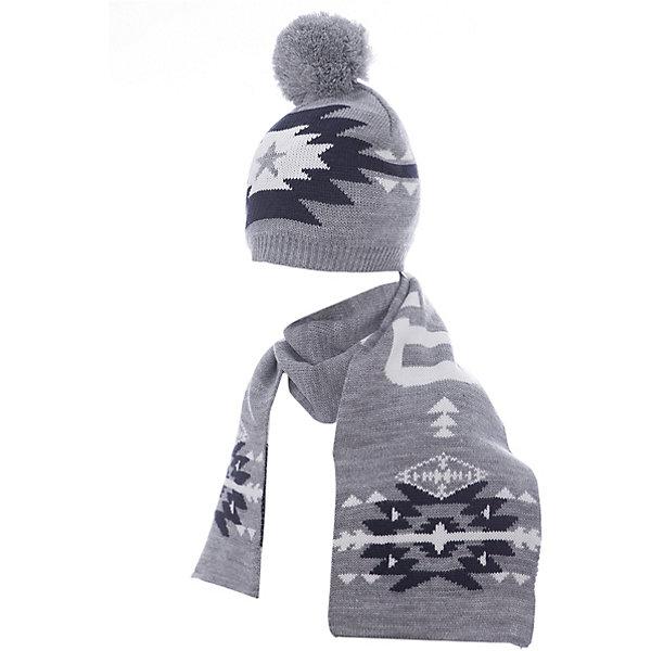 Комплект: шапка и шарф Original Marines для мальчикаКомплекты<br>Характеристики товара:<br><br>• цвет: серый<br>• комплектация: шарф, шапка<br>• состав ткани: 100% акрил<br>• сезон: демисезон<br>• страна бренда: Италия<br>• страна изготовитель: Бангладеш<br><br>Комплект для ребенка сделан из качественного материала. Детская одежда от итальянского бренда Original Marines обеспечит ребенку комфорт. Такой детский комплект состоит из шапки и шарфа. Демисезонный комплект украшен оригинальным вязаным рисунком.<br><br>Комплект: шапка и шарф Original Marines (Ориджинал Маринс) для мальчика можно купить в нашем интернет-магазине.<br>Ширина мм: 89; Глубина мм: 117; Высота мм: 44; Вес г: 155; Цвет: серый; Возраст от месяцев: 48; Возраст до месяцев: 60; Пол: Мужской; Возраст: Детский; Размер: 53-56,50-53; SKU: 7428858;