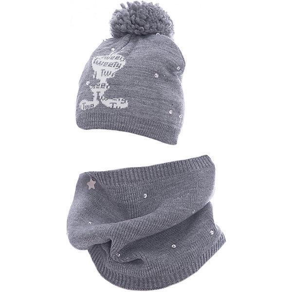 Комплект: шапка и шарф Original Marines для девочкиКомплекты<br>Характеристики товара:<br><br>• цвет: серый<br>• комплектация: шарф, шапка<br>• состав ткани: 100% акрил<br>• сезон: демисезон<br>• стразы<br>• страна бренда: Италия<br>• страна изготовитель: Китай<br><br>Серый комплект для ребенка сделан из качественного материала. Детская одежда от итальянского бренда Original Marines обеспечит ребенку комфорт. Такой детский комплект состоит из шапки и шарфа. Демисезонный комплект украшен оригинальной аппликацией.<br><br>Комплект: шапка и шарф Original Marines (Ориджинал Маринс) для девочки можно купить в нашем интернет-магазине.<br><br>Ширина мм: 89<br>Глубина мм: 117<br>Высота мм: 44<br>Вес г: 155<br>Цвет: серый<br>Возраст от месяцев: 12<br>Возраст до месяцев: 18<br>Пол: Женский<br>Возраст: Детский<br>Размер: 53-56,50-53<br>SKU: 7429299