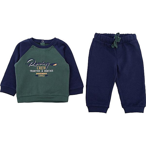 Комплект:толстовка и брюки Original Marines для мальчикаКомплекты<br>Характеристики товара:<br><br>• цвет: зеленый<br>• комплектация: толстовка, брюки<br>• состав ткани: 100% хлопок<br>• сезон: демисезон<br>• пояс: резинка<br>• длинные рукава<br>• страна бренда: Италия<br>• страна изготовитель: Бангладеш<br><br>Детский костюм обеспечит ребенку комфорт благодаря продуманному крою. Комплект для ребенка сделан из натурального качественного материала. Детский костюм комфортно сидит, не вызывает неудобств. Итальянский бренд Original Marines - это стильный продуманный дизайн и неизменно высокое качество исполнения. <br><br>Комплект: толстовка и брюки Original Marines (Ориджинал Маринс) для мальчика можно купить в нашем интернет-магазине.<br><br>Ширина мм: 190<br>Глубина мм: 74<br>Высота мм: 229<br>Вес г: 236<br>Цвет: зеленый<br>Возраст от месяцев: 12<br>Возраст до месяцев: 18<br>Пол: Мужской<br>Возраст: Детский<br>Размер: 86/92,68/74,80/86<br>SKU: 7429418