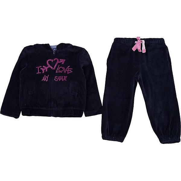 Спортивный костюм Original Marines для девочкиКомплекты<br>Характеристики товара:<br><br>• цвет: черный<br>• комплектация: толстовка, брюки<br>• состав ткани: 80% хлопок, 20% полиамид<br>• сезон: демисезон<br>• особенности модели: спортивный стиль<br>• застежка: молния<br>• пояс: резинка, шнурок<br>• длинные рукава<br>• страна бренда: Италия<br>• страна изготовитель: Бангладеш<br><br>Детский спортивный костюм обеспечит ребенку комфорт благодаря продуманному крою. Спортивный костюм для ребенка сделан из натурального качественного материала. Детский спортивный костюм комфортно сидит, не вызывает неудобств. Итальянский бренд Original Marines - это стильный продуманный дизайн и неизменно высокое качество исполнения. <br><br>Спортивный костюм Original Marines (Ориджинал Маринс) для девочки можно купить в нашем интернет-магазине.<br>Ширина мм: 247; Глубина мм: 16; Высота мм: 140; Вес г: 225; Цвет: черный; Возраст от месяцев: 24; Возраст до месяцев: 36; Пол: Женский; Возраст: Детский; Размер: 92/98,116/122,104/110; SKU: 7429462;