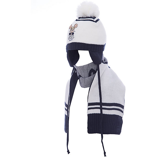 Комплект: шапка и шарф Original Marines для мальчикаШапочки<br>Характеристики товара:<br><br>• цвет: белый<br>• комплектация: шарф, шапка<br>• состав ткани: 100% акрил<br>• сезон: демисезон<br>• страна бренда: Италия<br>• страна изготовитель: Китай<br><br>Симпатичный детский комплект состоит из шапки и шарфа. Демисезонный комплект украшен помпоном Такой детский комплект создает комфортные условия во время прохладной погоды. Детские товары от бренда Original Marines давно завоевали любовь потребителей благодаря высокому качеству и стильному дизайну. <br><br>Комплект: шапка и шарф Original Marines (Ориджинал Маринс) для мальчика можно купить в нашем интернет-магазине.<br>Ширина мм: 89; Глубина мм: 117; Высота мм: 44; Вес г: 155; Цвет: белый; Возраст от месяцев: 0; Возраст до месяцев: 3; Пол: Мужской; Возраст: Детский; Размер: 42-44,46-48; SKU: 7429632;