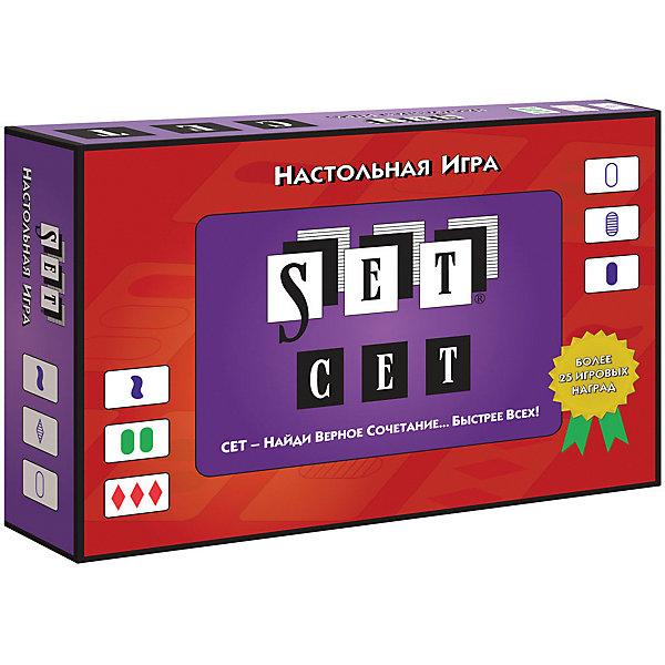 Настольная игра Стиль жизни СетНастольные игры для всей семьи<br>Характеристики товара:<br><br>• возраст: от 6 лет;<br>• размер упаковки: 4х18х13 см.;<br>• состав: картон, дерево;<br>• упаковка: картонная коробка;<br>• вес в упаковке: 250 гр;<br>• бренд, страна: Стиль жизни, Россия;<br>• страна-производитель: Бельгия.<br><br>Настольная игра для детей и всей семьи  «Сет» - это оригинальная настольная игра, которая развивает логическое и образное мышление.<br><br>Чтобы победить в этой простой, но необычной игре, вам придется научиться думать по-новому! В игре Сет каждая карта уникальна и имеет четыре признака: цвет (красный, зеленый или фиолетовый), символ (ромб, волна или овал), заполнение (закрашенная, заштрихованная или пустая) и число символов (1, 2 или 3 символа).Сет - это набор из трех карт, у которых каждый отдельный признак или полностью совпадает или полностью различается (название игры Сет происходит от английского set - набор).Цель игры - найти как можно больше сетов из трех карт. Поскольку все игроки ищут сет одновременно, важно обнаружить его первым! <br><br>Игра рассчитана для 1-8 (и более) игроков в возрасте от шести лет. В комплект игры входят: 81 карта и правила игры на русском языке.<br><br>Компания «Настольные игры - Стиль жизни», основанная в 2005 году, занимается разработкой и продажей как собственных настольных игр и головоломок, так и настольных игр от ведущих зарубежных издательств. В ассортименте компании представлены игры на любой вкус и на любую компанию. <br><br>Настольную игру для детей и всей семьи «Сет», 80 карточек, Стиль жизни можно купить в нашем интернет-магазине.<br>Ширина мм: 40; Глубина мм: 180; Высота мм: 130; Вес г: 252; Возраст от месяцев: 72; Возраст до месяцев: 2147483647; Пол: Унисекс; Возраст: Детский; SKU: 7431546;