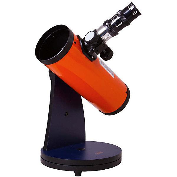 Телескоп Levenhuk LabZZ D1Телескопы<br>Характеристики товара:<br><br>• возраст: от 5 лет;<br>• вес: 1,9 кг.;<br>• тип телескопа: рефлектор;<br>• оптическая схема: Ньютона;<br>• покрытие оптики: полное многослойное;<br>• диаметр главного зеркала (апертура): 76 мм.;<br>• фокусное расстояние: 300 мм.;<br>• максимальное полезное увеличение: 152 крат;<br>• светосила (относительное отверстие):  f/3,95;<br>• окуляры: H6 (50x), H20 (15x);<br>• посадочный диаметр окуляров: 1,25 дюймов;<br>• линза Барлоу: 2x;<br>• тип управления телескопом: ручной;<br>• тип монтировки: Добсона, настольная, вращающаяся на 360°;<br>• высота монтировки: 34 мм.;<br>• размеры упаковки: 25х25х36 см..;<br>• упаковка: картонная коробка;<br>• страна бренда: США;<br>• страна-изготовитель: КНР.<br><br>Телескоп «LabZZ D1» Levenhuk (Левенгук) создан для юных исследователей космоса, которые не хотят прерывать астрономические наблюдения ни на минуту. Он компактный и легкий, поэтому ребенок сможет взять его на дачу, в школу или во двор. А наблюдать можно будет всю Солнечную систему! В базовой комплектации телескоп позволяет приближать до 100 крат.<br><br>Levenhuk LabZZ D1 – это рефлектор Ньютона с просветленной оптикой. Он передает четкое и ясное изображение, не искаженное хроматизмом и внутренними бликами. Наилучшую картинку можно получить вдали от городской засветки – так получится рассмотреть больше деталей. Оптическая труба установлена на деревянную монтировку Добсона. Ее можно вращать на 360°, перемещать по высоте или азимуту. Никаких навыков управления этот тип монтировки не требует – юный астроном научится работать с телескопом за несколько минут.<br><br>В комплект поставки уже включены два окуляра и линза Барлоу, а также подробная инструкция по эксплуатации и гарантийный талон.<br><br>Данная модель непременно понравится вашему ребенку: труба окрашена в яркий оранжевый цвет, а монтировка – в сине-фиолетовый.<br><br>Телескоп «LabZZ D1» от Levenhuk (Левенгук) можно купить в нашем интернет-магазине.<br><