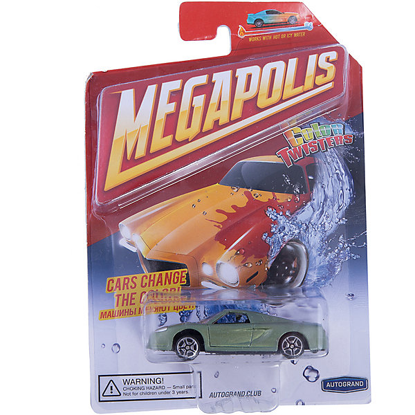 Машинка Autotime, Color Twisters Water Chameleon, металлическая, зеленыйМашинки<br>Характеристики:<br><br>• возраст: от 3 лет;<br>• цвет игрушки: зеленый;<br>• особенности: машинка меняет цвет в воде;<br>• материал: пластик, металл;<br>• размер: 12,7х17,8х4 см;<br>• тип упаковки: блистер на картоне;<br>• бренд, страна бренда: Autotime, США;<br>• страна производитель: Китай.<br><br>Машинка от бренда Autotime «Color Twisters Water Chameleon» - это красивая игрушечная модель спортивной машины, которая входит в серию товаров под названием Color Twisters. <br><br>Интересной особенностью данного автомобиля является возможность менять цвет. Если опустить машинку в горячую воду, то расцветка изменится, а если затем опустить в холодную, то цвет станет прежним. Машина изготовлена из литого металла и пластмассы.<br><br>Машинка сделана из безопасных материалов. Так же красители, которыми окрашены все части автомобиля являются гипоаллергенными и не навредят здоровью ребенка. Игрушка прошла все необходимые проверки и получила все сертификаты качества.<br><br>Color Twisters Water Chameleon действительно уникальная игрушка которая подарит вашему ребенку много радости и приятное времяпрепровождение за игрой. Отличный вариант для пополнения коллекции игрушечных машинок вашего ребенка.<br><br>Машинку от бренда Autotime «Color Twisters Water Chameleon», цвет - зеленый, можно купить в нашем интернет-магазине.<br>Ширина мм: 127; Глубина мм: 178; Высота мм: 39; Вес г: 63; Возраст от месяцев: 36; Возраст до месяцев: 2147483647; Пол: Мужской; Возраст: Детский; SKU: 7431653;