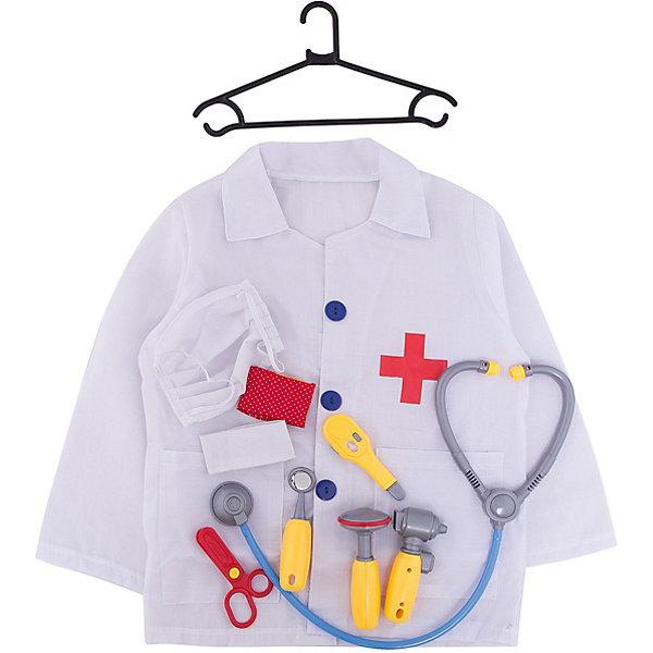 Набор доктора ABtoys Важная работа, 10 предметов с халатомНаборы доктора и ветеринара<br>Характеристики товара:<br><br>• возраст: от 3 лет;<br>• размер упаковки: 27х47х3 см.;<br>• состав: пластик, текстиль;<br>• упаковка: пакет;<br>• вес в упаковке: 360 гр.;<br>• бренд, страна: ABtoys;<br>• страна-производитель: Китай.<br><br>Игровой набор «Форма доктора» из серии «Важная работа» от торговой марки ABtoys может понравиться многим детям, кто интересуется профессией врача. Каждый ребенок сможет примерить на себя эту важную и ответственную роль, представляя себя настоящим доктором. <br><br>В наборе представлены десять предметов-инструментов, обладающих прекрасной детализацией: стетоскоп, халат, стоматологическое зеркало, термометр, ножницы, отоскоп, молоточек, маска, кусочек марли, лейкопластырь.<br><br>Ваш ребенок несомненно с интересом будет изучать особенности набора, развивая логическое мышление и придумывая увлекательные сюжетно-ролевые игры.<br><br>Игровой набор «Форма доктора» из серии «Важная работа», 10 предметов, ABtoys, можно купить в нашем интернет-магазине.<br>Ширина мм: 38; Глубина мм: 470; Высота мм: 20; Вес г: 361; Возраст от месяцев: 36; Возраст до месяцев: 120; Пол: Унисекс; Возраст: Детский; SKU: 7431667;