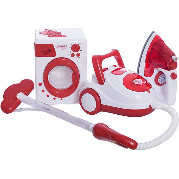 Игровой набор ABtoys Помогаю маме Стиральная машина, утюг и пылесосНаборы для уборки<br>Характеристики товара:<br><br>• возраст: от 3 лет;<br>• комплект: утюг, стиральная машина, пылесос;<br>• тип батареек: 2 x AA / LR6 1.5V (пальчиковые);<br>• наличие батареек: не входят в комплект;<br>• размер упаковки: 55х12,5х38,5 см.;<br>• состав: пластик, металл;<br>• упаковка: картонная коробка блистерного типа;<br>• вес в упаковке: 1,7 кг.;<br>• бренд, страна: ABtoys;<br>• страна-производитель: Китай.<br><br>Игровой набор «Помогаю маме» от торговой марки ABtoys вызовет восторг у маленькой хозяюшки. Благодаря чудесному набору игрушечной бытовой техники, ребенок, подражая маме, займется фантазийной уборкой и устроит увлекательную сюжетно-ролевую игру.<br><br>Комплект включает в себя утюг, стиральную машинку и пылесос.  Функциональные электроприборы работают совсем как настоящие. Игровой процесс будет сопровождаться характерными звуковыми эффектами, зрелищной подсветкой и реалистичной вибрацией.<br><br>Ваш ребенок несомненно с интересом будет изучать особенности набора, развивая логическое мышление и коммуникабельность.<br><br>Игровой набор «Помогаю маме», бытовая техника для стирки, глажки и уборки, ABtoys, можно купить в нашем интернет-магазине.<br>Ширина мм: 550; Глубина мм: 125; Высота мм: 385; Вес г: 1750; Возраст от месяцев: 36; Возраст до месяцев: 120; Пол: Женский; Возраст: Детский; SKU: 7431668;
