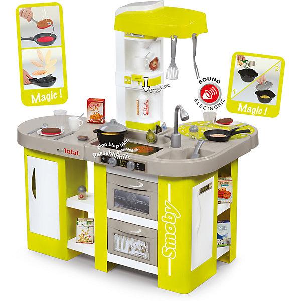 Кухня Smoby Tefal Studio XL, с аксессуарами (звук)Пластиковые кухни<br>Характеристики:<br><br>• электронная кухня со звуковыми эффектами;<br>• реалистичные функции: работает плита, духовка, посудомоечная машина и холодильник;<br>• кухня оборудована раковиной с краном (без воды);<br>• возможность переворачивать блины, «жарить» рыбу и мясо;<br>• у продуктов две стороны: сырое и готовое блюдо;<br>• специальная паста для приготовления каши;<br>• наличие разнообразных крючков, полочек и отсеков;<br>• аксессуары в комплекте, 36 шт.: посуда, столовые приборы, продукты питания, <br>• тип батареек: 1 х CR 2032 (в комплекте);<br>• размер кухни в собранном виде: 85х61,5х99 см;<br>• высота до столешницы: 50,5 см;<br>• размер упаковки: 75х66х27 см.<br><br>Функциональная электронная кухня с реалистичными функциями оборудована современной бытовой техников. В комплект входит 36 кухонных аксессуаров, которые позволяют разнообразить игровой процесс. <br><br>Это кастрюля, сковородка с возможностью подкидывания блинов, крышка, 4 коробки, 6 капсул кофе, бутылка содовой, рыба, мясо, лапша, блинчик, лопатка, вилка для мяса, нож для мяса, столовые приборы, 2 кружки, 2 стакана, 2 солонки, корзина для посудомоечной машины. <br><br>В процессе игры развивается фантазия, ребенок систематизирует свои действия, учится выполнять бытовые поручения в игровой форме. <br><br>Кухня Smoby, Tefal Studio XL, звук, 36 акс, 86х62х100см, 1/1 можно купить в нашем интернет-магазине.<br>Ширина мм: 270; Глубина мм: 660; Высота мм: 750; Вес г: 8260; Возраст от месяцев: 36; Возраст до месяцев: 2147483647; Пол: Женский; Возраст: Детский; SKU: 7433327;