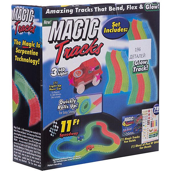 Гибкий трек Magic Tracks Ontel, 196 светящихся деталейГибкие треки<br>Характеристики:<br><br>• возраст: от 3 лет;<br>• материал: пластик;<br>• в комплекте: 196 светящихся деталей, 1 машинки светящаяся, подробная инструкция;<br>• тип батареек: 1 батарейка АА;<br>• наличие батареек: в комплект не входят;<br>• в собранном состоянии: 3,35м гоночной трассы;<br>• размер упаковки: 25х25х8 см;<br>• вес упаковки: 1,5 кг;<br><br>Magic Tracks является необычайно красочным светящимся гоночным треком, завоевавшим сердца миллионов детей и их родителей по всему миру. Такого изгиба гоночной трассы и необыкновенного свечения в темноте Вы никогда не видели! Вы можете изогнуть трассу на 360%, создать искусственные препятствия и любоваться как энергично машинка их преодолевает).<br> <br>А еще лучше, когда вы выключаете свет и видите всю световую магию Magic Tracks!<br><br>Ребенок самостоятельно решает в каком направлении поедет автомобиль, создает препятствия и горки. Прямо во время игры трассу можно лего повернуть не останавливая движение машинок. <br><br>Конструктор собран полностью из экологически чистых и безопасных материалов.<br><br>Гибкий трек Ontel, 196 светящихся деталей Magic Tracks можно купить в нашем интернет-магазине.<br>Ширина мм: 250; Глубина мм: 250; Высота мм: 90; Вес г: 1500; Цвет: графит; Возраст от месяцев: 36; Возраст до месяцев: 2147483647; Пол: Мужской; Возраст: Детский; SKU: 7434604;