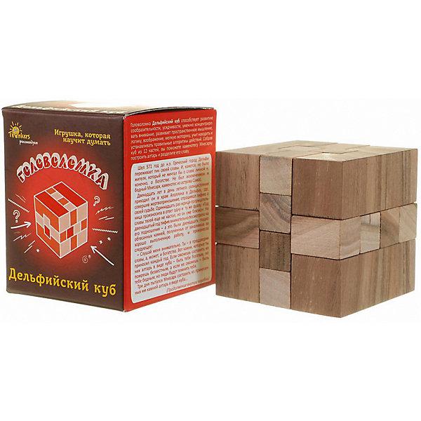 Головоломка Thinkers Дельфийский кубКлассические головоломки<br>Характеристики товара:<br><br>• возраст: от 7лет;<br>• материал: дерево;<br>• упаковка: картонная коробка;<br>• в комплекте: головоломка, легенда;<br>• размер упаковки: 9х9х10 см;<br>• вес упаковки: 300 гр.;<br>• страна производитель: Украина.<br><br>Головоломка Thinkers (Финкерс) Дельфийский куб- одна из самых сложных и увлекательных игр для детей. В комплект входит захватывающая легенда о создании головоломки, что несомненно заинтересует малыша.<br><br>Головоломка изготовлена из натурального дерева, без использования красителей.<br><br>Головоломку Thinkers (Финкерс) Дельфийский куб можно купить в нашем интернет-магазине.<br>Ширина мм: 100; Глубина мм: 85; Высота мм: 85; Вес г: 406; Возраст от месяцев: 84; Возраст до месяцев: 2147483647; Пол: Унисекс; Возраст: Детский; SKU: 7434952;