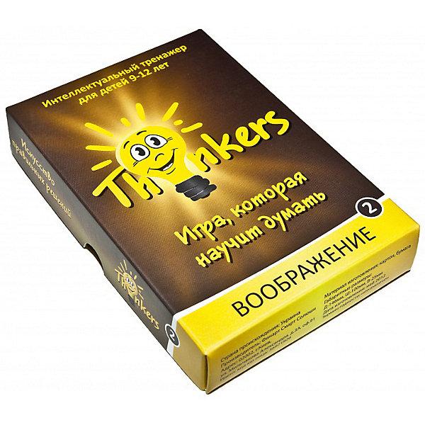 Настольная игра Thinkers ВоображениеОбучающие игры для дошкольников<br>Характеристики товара:<br><br>• возраст: от 9 лет;<br>• материал: картон;<br>• упаковка: картонная коробка;<br>• в комплекте: 100 каротчек, инструкция;<br>• размер упаковки: 10х14х2,5 см;<br>• вес упаковки: 500 гр.;<br>• страна производитель: Украина.<br><br>Настольная игра Thinkers (Финкерс) Воображение - одна из самых сложных и увлекательных игр для детей и взрослых. Для выполнения интелектуальных задачь нужно применить логику и смекалку.<br><br>В комплект игры входят карточки с заданиями, сложность которых варьируется по пятьбальной шкале. Правильность ответов можно проверить на обороте карточки. Играть могут неограниченое количество игроков.<br><br>Настольную игру Thinkers (Финкерс) Воображение можно купить в нашем интернет-магазине.<br><br>Ширина мм: 145<br>Глубина мм: 100<br>Высота мм: 25<br>Вес г: 337<br>Возраст от месяцев: 108<br>Возраст до месяцев: 144<br>Пол: Унисекс<br>Возраст: Детский<br>SKU: 7434953