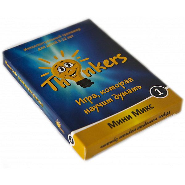 Настольная игра Thinkers Мини макс 1Обучающие игры для дошкольников<br>Характеристики товара:<br><br>• возраст: от 9 лет;<br>• материал: картон;<br>• упаковка: картонная коробка;<br>• в комплекте: 35 каротчек, инструкция;<br>• размер упаковки: 15х10х2,5 см;<br>• вес упаковки: 385 гр.;<br>• страна производитель: Украина.<br><br>Настольная игра Thinkers (Финкерс) Мини микс 1 - одна из самых сложных и увлекательных игр для детей и взрослых. Для выполнения интелектуальных задачь нужно применить логику и смекалку.<br><br>В комплект игры входят карточки с заданиями, сложность которых варьируется по пятьбальной шкале. Правильность ответов можно проверить на обороте карточки. Играть могут неограниченое количество игроков.<br><br>Настольную игру Thinkers (Финкерс) Мини микс 1 можно купить в нашем интернет-магазине.<br><br>Ширина мм: 102<br>Глубина мм: 72<br>Высота мм: 11<br>Вес г: 70<br>Возраст от месяцев: 108<br>Возраст до месяцев: 144<br>Пол: Унисекс<br>Возраст: Детский<br>SKU: 7434957
