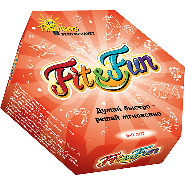 Настольная игра Thinkers Fit and FunОбучающие игры для дошкольников<br>Характеристики товара:<br><br>• возраст: от 6 лет;<br>• материал: картон;<br>• упаковка: картонная коробка;<br>• в комплекте: 42 каротчки, инструкция;<br>• размер упаковки: 10х11х0,5 см;<br>• вес упаковки: 190 гр.;<br>• страна производитель: Украина.<br><br>Настольная игра Thinkers (Финкерс) Fit and Fun  - одна из самых сложных и увлекательных игр для детей и взрослых. Для выполнения интелектуальных задачь нужно применить логику и смекалку.<br><br>В комплект игры входят карточки с пятью изображениями.Каждые две карты сделаны так, что на них есть одна повторяющаяся картинка, которые просто расположена в ином порядке.<br>После им предстоит распознать изображения, расположенные на верхней карте в центре колоды. Кто первым найдет совпадение с картиной, которая есть на его карте, тот забирает карту на колоде. Игра продолжается до окончания колоды, и подсчитываются оставшиеся карты.<br><br>Настольную игру Thinkers (Финкерс) Fit and Fun можно купить в нашем интернет-магазине.<br><br>Ширина мм: 95<br>Глубина мм: 110<br>Высота мм: 50<br>Вес г: 192<br>Возраст от месяцев: 72<br>Возраст до месяцев: 108<br>Пол: Унисекс<br>Возраст: Детский<br>SKU: 7434960