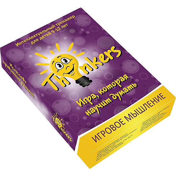 Настольная игра Thinkers Игровое мышлениеОбучающие игры для дошкольников<br>Характеристики товара:<br><br>• возраст: от 9 лет;<br>• материал: картон;<br>• упаковка: картонная коробка;<br>• в комплекте: 100 каротчек, инструкция;<br>• размер упаковки: 10х14х2,5 см;<br>• вес упаковки: 340 гр.;<br>• страна производитель: Украина.<br><br>Настольная игра Thinkers (Финкерс) Игровое мышление - одна из самых сложных и увлекательных игр для детей и взрослых. Для выполнения интелектуальных задачь нужно применить логику и смекалку.<br><br>В комплект игры входят карточки с заданиями, сложность которых варьируется по пятьбальной шкале. Правильность ответов можно проверить на обороте карточки. Играть могут неограниченое количество игроков.<br><br>Настольную игру Thinkers (Финкерс) Игровое мышление можно купить в нашем интернет-магазине.<br>Ширина мм: 146; Глубина мм: 100; Высота мм: 25; Вес г: 336; Возраст от месяцев: 108; Возраст до месяцев: 144; Пол: Унисекс; Возраст: Детский; SKU: 7434964;