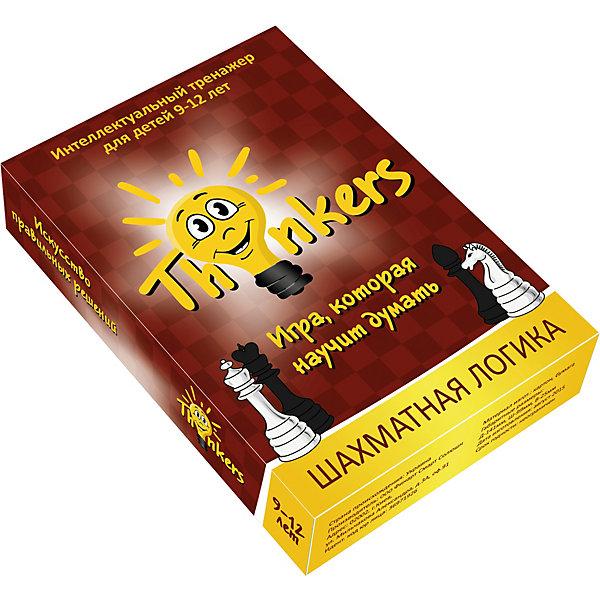 Настольная игра Thinkers Шахматная логикаОбучающие игры для дошкольников<br>Характеристики товара:<br><br>• возраст: от 9 лет;<br>• материал: картон;<br>• упаковка: картонная коробка;<br>• в комплекте: 100 каротчек, инструкция;<br>• размер упаковки: 10х14х2,5 см;<br>• вес упаковки: 350 гр.;<br>• страна производитель: Украина.<br><br>Настольная игра Thinkers (Финкерс) Шахматная логика - одна из самых сложных и увлекательных игр для детей и взрослых. Для выполнения интелектуальных задачь нужно применить логику и смекалку.<br><br>В комплект игры входят карточки с заданиями, сложность которых варьируется по пятьбальной шкале. Правильность ответов можно проверить на обороте карточки. Играть могут неограниченое количество игроков.<br><br>Настольную игру Thinkers (Финкерс) Шахматная логика можно купить в нашем интернет-магазине.<br>Ширина мм: 146; Глубина мм: 100; Высота мм: 25; Вес г: 340; Возраст от месяцев: 108; Возраст до месяцев: 144; Пол: Унисекс; Возраст: Детский; SKU: 7434970;